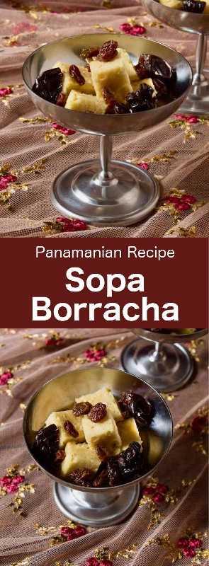 Sopa borracha es una deliciosa torta de ron tradicional de Panamá que se remoja en un jarabe de especias que incluye ron y jerez y generalmente se sirve con ciruelas y pasas. #Panama #CentralAmericanCuisine #CentralAmericanRecipe #PanamaCuisine #PanamaRecipe #WorldCuisine # 196flavors