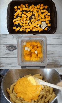 Imagen de collage de cómo hacer pasta de calabaza alfredo paso a paso.
