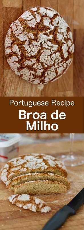 Broa de milho é um pão delicioso típico da região norte de Portugal. Geralmente é feito principalmente com farinha de milho, farinha de centeio e um pouco de farinha de trigo. #Portugal #Receita Portuguesa # Pão #Receita de Pão # Culinária Mundial # 196 sabores