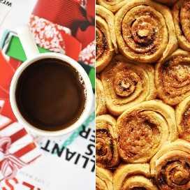 Taza de café y lote de rollos de canela de trigo de miel durante la noche