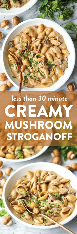 Stroganoff de champiñones cremosos: ¡la mantequilla, los champiñones, las chalotas, el ajo y el tomillo son perfectos para el stroganoff de hongos cremoso y perfecto! Realizado en tan solo 30 min. ¡FÁCIL!
