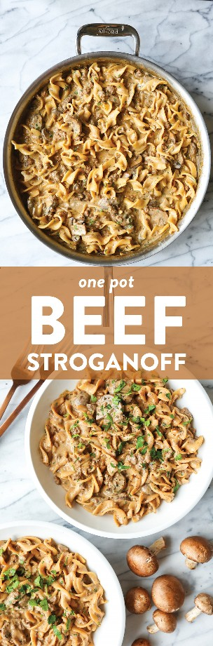 Stroganoff de One Pot Beef - ¡Ahora puedes hacer el Stroganoff favorito de todos en ONE POT con carne de res molida! Sin complicaciones + económico con la limpieza más rápida!