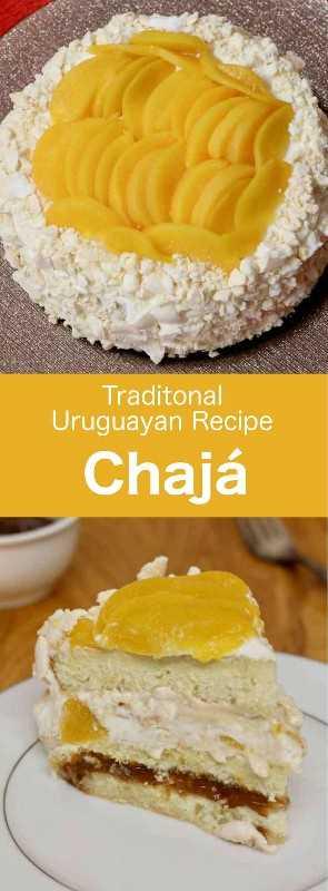 Chajá es un postre deliciosamente ligero típico de la cocina uruguaya, que consiste en merengue, bizcocho, crema batida y melocotones en almíbar. #UruguayanRecipe #UruguyanFood #UruguayanCuisine #urugua #LatinFood #LatinRecipe #WorldCuisine # 196flavors