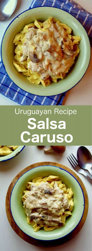 La salsa caruso es una salsa que se sirve caliente, preparada con crema, champiñones, jamón cocido y queso. #UruguayanRecipe #UruguyanFood #UruguayanCuisine #urugua #LatinFood #LatinRecipe #WorldCuisine # 196flavors