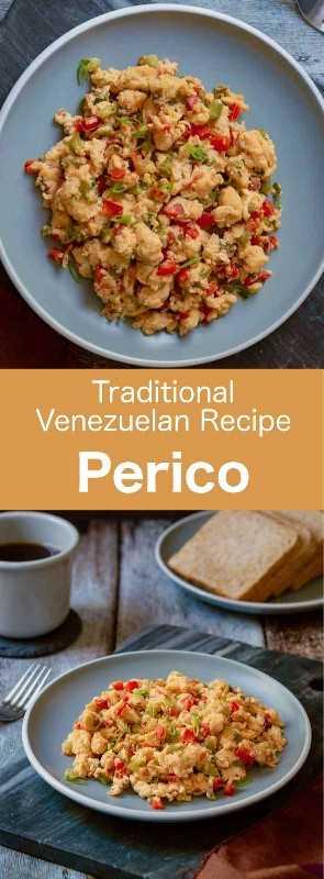Perico es un popular huevo revuelto al estilo sudamericano. Es un artículo de desayuno clásico que es popular tanto en Venezuela como en Colombia. #Venezuela #Colombia #VenezuelanCuisine #ColombianCuisine #LatinAmerica #LatinAmericanCuisine #WorldCuisine # 196flavors