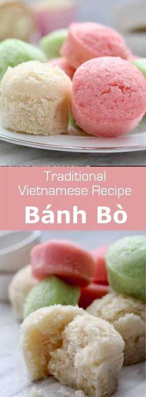 Bánh bò es una especie de bizcocho cocido al vapor, hecho de harina de arroz que es originaria del sur de China y es popular en Vietnam. #Vietnam #VietnameseCuisine #VietnameseFood #VietnameseRecipe #AsianCuisine #AsianRecipe #AsianFood #WorldCuisine # 196flavors