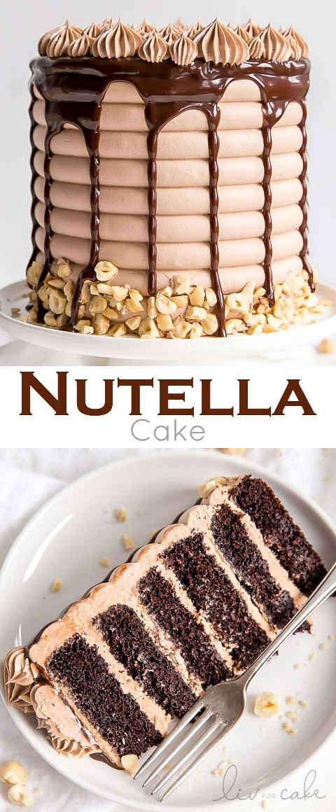¡Este pastel de nutella tiene seis capas de pura decadencia! Deliciosas capas de pastel de chocolate, crema de mantequilla de Nutella y ganache de Nutella.   livforcake.com