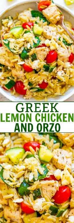 Pollo al limón griego y Orzo - ¡FÁCIL, listo en 25 minutos, y alimenta a la multitud! El jugoso pollo al limón con orzo, las espinacas frescas, los pepinos y los tomates hacen de esta una cena ¡GANADOR! Ideal para fiestas, picnics y meriendas !!