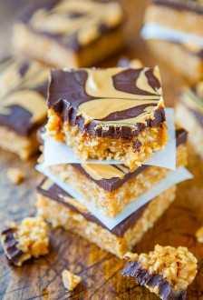 Barras de cereal de chocolate y mantequilla de cacahuate masticable (veganas, sin gluten) - Receta en averiecooks.com