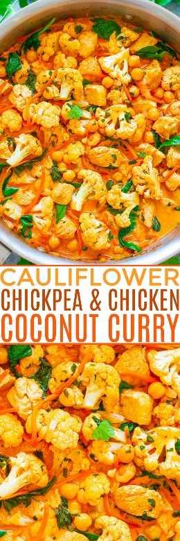 Curry de coliflor, garbanzos y pollo con coco: ¡un FÁCIL, curry de una sartén que se prepara en 20 minutos y sabe MEJOR que un restaurante! El caldo de leche de coco de inspiración tailandesa hace que este saludable alimento de comodidad tenga un sabor INCREÍBLE !!