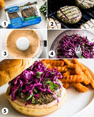 Proceso paso a paso de cómo hacer hamburguesas de pavo a la parrilla saludables.