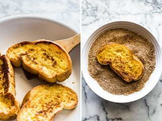 Foto a la izquierda: tostada francesa cocida en una sartén. Foto a la derecha: tostada francesa cocida en un bol con aderezo de canela.
