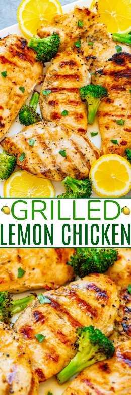Pollo al limón a la parrilla: ¡FÁCIL, listo en 10 minutos, y el pollo es TENDER, jugoso y lleno de sabor a limón! Con brócoli asado en el costado, esta es una receta SANA perfecta para la temporada de trajes de baño que sabe ¡INCREÍBLE!
