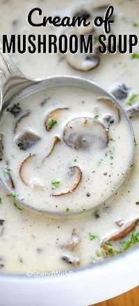 Crema de champiñones que se muestra en una olla blanca y se levanta con un cucharón de plata
