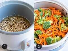 Dos imágenes que muestran cómo cocinar la quinoa en una olla arrocera y cómo cocinar las verduras en una olla arrocera.