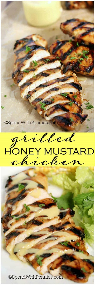 Easy Grilled Honey Mustard Chicken es tierno y jugoso ... ¡totalmente irresistible! Esto puede ser asado (o al horno) para la comida perfecta de verano y este pollo es perfecto en una ensalada fresca y fresca.