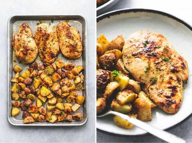 Hoja fácil Pan, pollo y papas (cinco ingredientes) Receta de la cena | lecremedelacrumb.com
