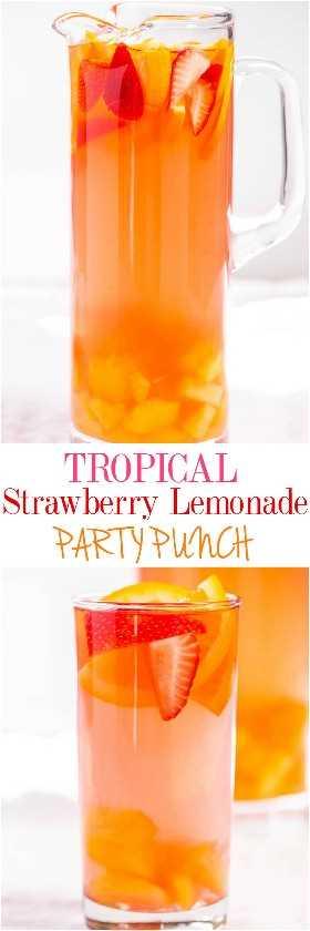 Ponche de fiesta de limonada de fresa tropical: dulce y cítrico con un ambiente tropical. ¡Tan rápido y fácil! ¡Ponche y sangría todo en uno con mucha fruta! (puede hacerse virgen)