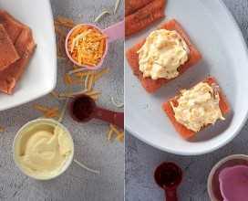 Filetes de salmón con salsa de chili dulce, mayonesa y queso en un plato blanco
