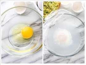 Un collage de imágenes que muestran cómo hacer huevos escalfados perfectos en el microondas.
