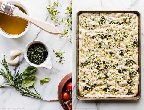 Ingredientes para pan, incluyendo aceite de oliva, romero, tomillo y ajo fresco