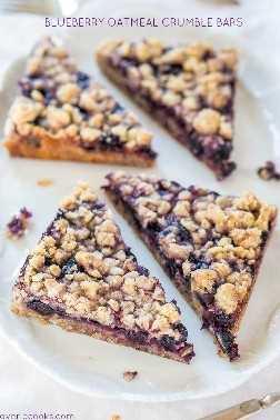 Blueberry Oatmeal Crumble Bars - ¡Barras rápidas, fáciles, sin mezcladores, excelentes para el desayuno, bocadillos o un postre saludable! ¡¡¡¡¡¡¡¡¡¡¡¡¡GRANDES DESMOLLAS Y BAYAS Jugosas son irresistibles !!