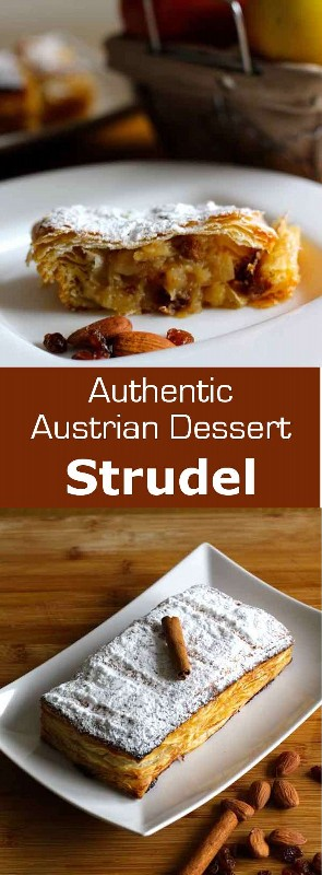 Apfelstrudel es un pastel tradicional vienés preparado con una masa delgada que se rellena con manzanas para cocinar, pasas, azúcar, canela y pan rallado. #Austria #Austria #Ashkenazi # 196flavors