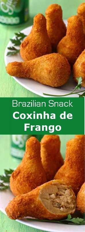 Coxinha de frango es un buñuelo brasileño en forma de baqueta que se basa en una mezcla de pollo desmenuzado que se envuelve en masa, luego se bate y se fríe. # streetfood #Brazil # 196flavors