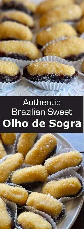 Olho de Sogra es una famosa confitería brasileña preparada con beijinho, una mezcla de coco y leche condensada, rellena en una media ciruela. #dessert #Brazil # 196flavors