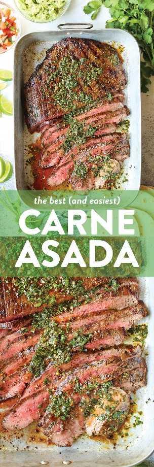 Carne Asada: el cilantro, el aceite de oliva, la salsa de soja, el jugo de naranja y lima, el ajo, el jalapeño y el comino hacen que la marinada sea más fácil y sabrosa. MUY MUY BIEN.