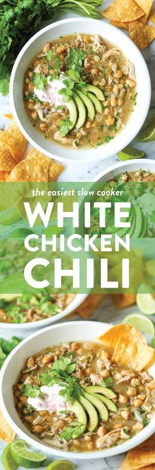 Slow Cooker White Chicken Chili - ¡La receta de crockpot más fácil de tu vida! Es una maravilla de una olla: no se quema, no hay problema. Simplemente tira todo a la derecha!