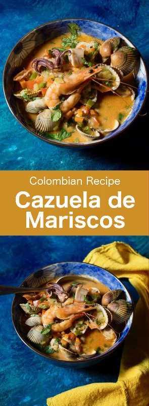 Cazuela de Mariscos (cazuela de mariscos) es un delicioso plato tradicional de la región caribeña de Colombia, hecho con mariscos, pescado y verduras. #Colombia #ColombianCuisine #LatinAmerica #LatinAmericanCuisine #WorldCuisine # 196flavors