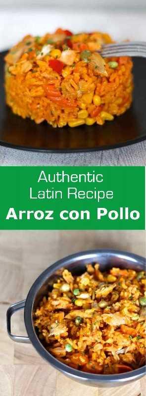Arroz con pollo es una receta tradicional latinoamericana con arroz, pollo y verduras que se cocinan juntos y que deben su color al annatto. #Costa Rica