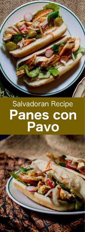 Panes con pavo es un popular sándwich salvadoreño tradicional preparado con pavo asado y su salsa, así como también verduras crudas y en escabeche. #CentralAmericanCuisine #CentralAmericanRecipe #SalvadoranCuisine #SalvadoranRecipe #WorldCuisine # 196flavors