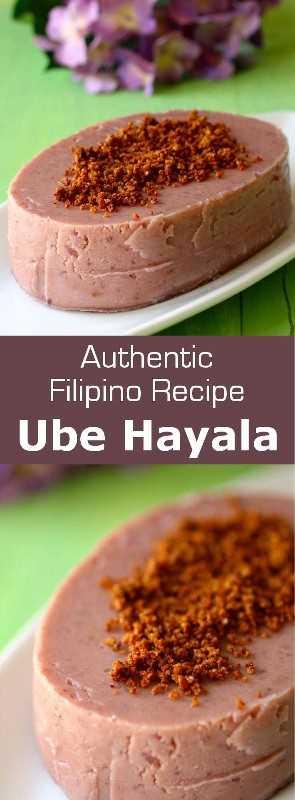 Ube halaya es un postre tradicional filipino hecho con ñame púrpura y, a menudo, cubierto con coco tostado, que es reconocible por su color violeta vivo. #Philippines # 196flavors