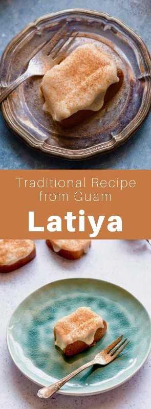 Latiya (ou natiya) é uma sobremesa popular de Guam, feita com creme de baunilha polvilhado com canela e uma base de bolo de esponja. #Guam #GuamFood #GuamReceita #GuamCuisine #Chamorro #ChamorroCuisine #ChamorroFood #ChamorroRecipe #WorldCuisine # 196 sabores