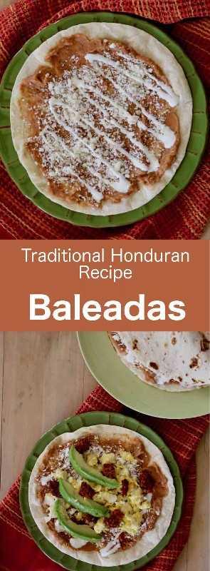 Las baleadas son deliciosas tortillas de harina hondureñas tradicionales, que se rellenan con puré de frijoles rojos, pimientos, aguacate y crema agria. #Honduras #HondurasCuisine #WorldCuisine # 196flavors