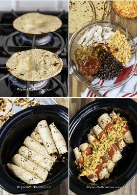 Un collage paso a paso de hacer enchiladas de cocción lenta y enrollarlas para la olla de barro.