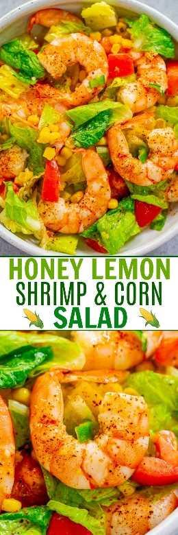 Ensalada de maíz y camarones con limón, miel: camarones tiernos y tiernos enclavados en una ensalada crujiente y todo está cubierto con una salsa de limón y miel irresistible. ¡Una ensalada FÁCIL Y SANA que está lista en 10 minutos!