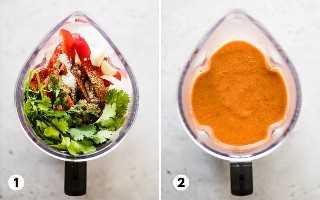 Proceso paso a paso de cómo hacer gazpacho en una licuadora.
