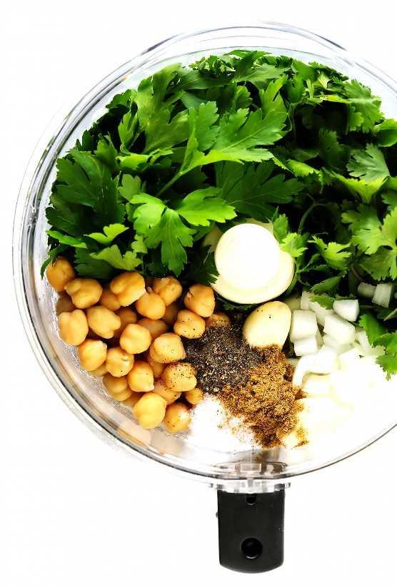 Ingredientes caseiros de Falafel