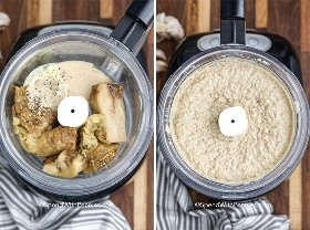 Two images showing the baba ganoush ingredients mixed in a food processor.