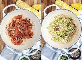 Dos imágenes que muestran tocino frito y cebolla y apio salteados.