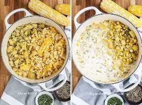 Dos imágenes que muestran los pasos para preparar chowder de maíz.