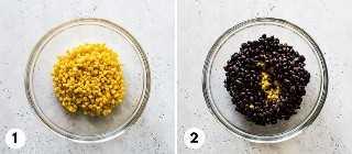 Collage de proceso de salsa de frijol negro y maíz