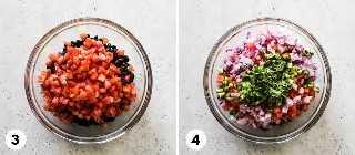 Collage de cómo hacer salsa de frijol negro y maíz.