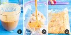 Tres imágenes que muestran cómo hacer una marinada de pollo con piña.