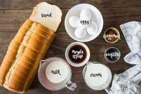 Ingredientes para hacer tostadas francesas al horno.
