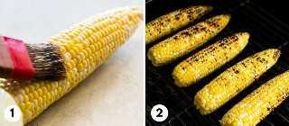 Proceso de cómo asar maíz en la mazorca para el maíz de calle mexicano.