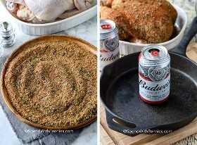 Cazuela de pollo con lata de cerveza y una lata de cerveza en una sartén de hierro fundido